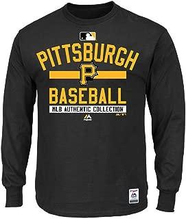 Majestic Pittsburgh Pirates MLB Mens Long Sleeve Color Block Shirt Black Big & Tall Sizes