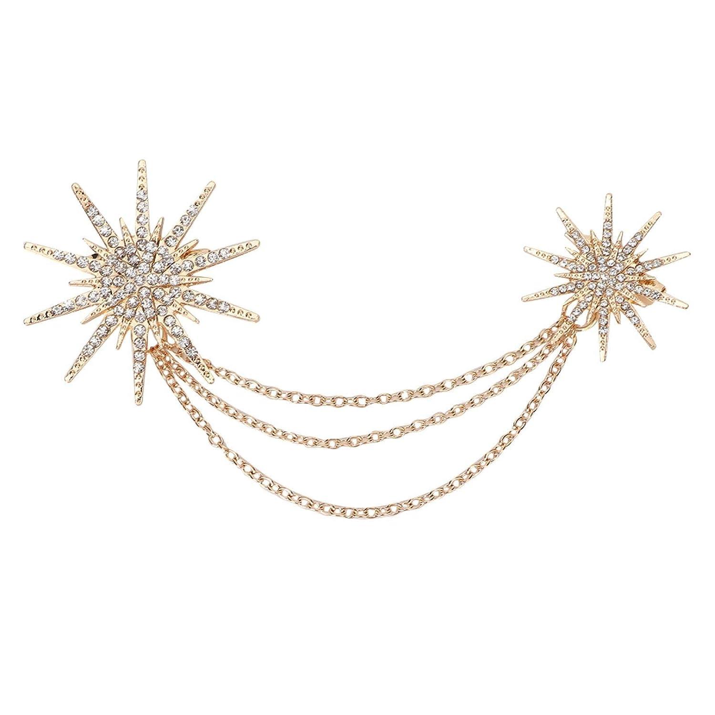 ASOMI Fashion Snowflake Shaped Brooch Alloy Tassel Chain Brooch Lady Jewelry Accessory
