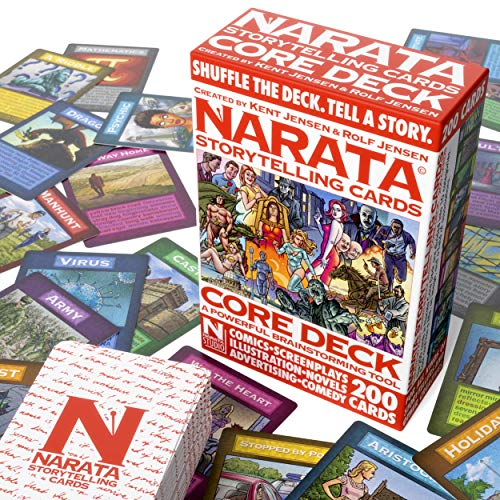 Narata Storytelling Cards - 200 Illustrated Cards - Plot Novels Movies - Brainstorming Tool - 10 Card Categories - Booklet with Story Structure Tips