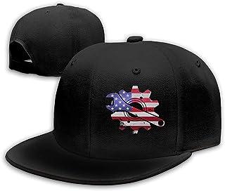 Heobe Mechanic USA Flag Men/Women Fashion Adjustable Baseball Cap Snapback Flat Bottom Cap