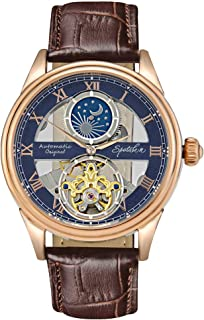 Men's Mechanical Watch Automatic Skeleton Dial Moon Phase Waterproof Analogue Self-Wind Wrist Watch with Classic Brown Leather Band