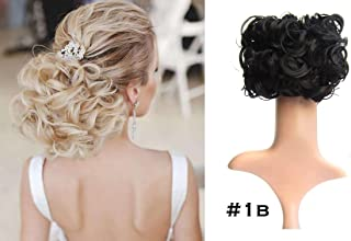 Short Curly Chignon Hair Bun Extension Hair Combs Clip in Ponytail Extension #1B