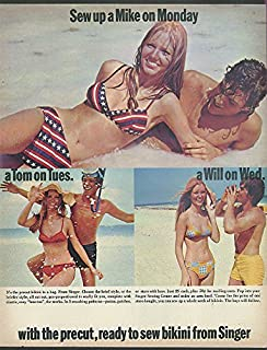 Sew up a Mike on Monday Cheryl Tiegs in Singer Sew Bikini Swimsuit ad 1971