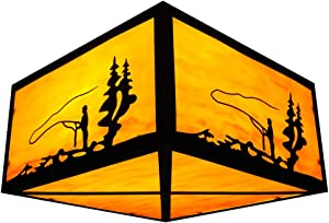 Design House 566646 Ceiling Mounts Sunset Rustic Dimmable Indoor/Outdoor with Amber Glass for Porch Cabin Entryway Garage (Bulbs not Included), Light, Fisherman