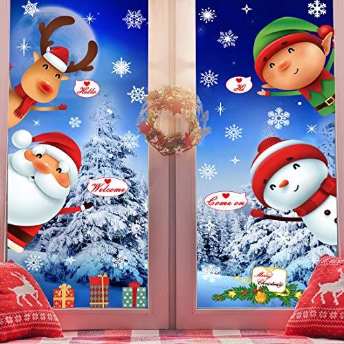 O-Kinee Decorazioni Natalizie, Vetrofanie Natale Colorate,Rimovibile Vetrofanie Bambini, Statiche Vetrofanie Natalizie per Finestre Vetrine Negozio Panetteria Porte Vetro Inverno