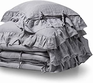 meadow park Stone Washed Linen Duvet Cover Set 3 Pieces, King Size 104 inches x 94 inches, Shams 20 inches x 36 inches, Frayed Edge,Ties Closure,Corner Ties,Super Soft, Light Grey Color
