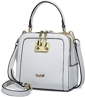 Kadell Frauen Leder Handtaschen Shell Form Top Griff Geldbörse mit abnehmbarem Armband Weiß