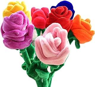 Fumingsi 8 Piece Colorful Bendable Stuffed Rose Plush Flower 12