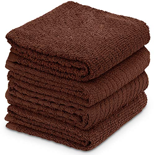 DecorRack 4 Large Kitchen Towels, 100% Cotton, 15 x 25 inches, Absorbent Dish Drying Cloth, Perfect for Kitchen, Solid Color Hand Towels, Coffee (4 Pack)