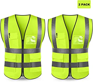 Kasthere Safety Vests Reflective High Visibility Construction Work Vest with 5 Pockets and Front Zipper - 2 Pack (Fluorescent Yellow, L)