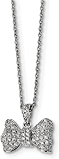 """Lex & Lu Sterling Silver & CZ Brilliant Embers Bow Necklace 18"""""""