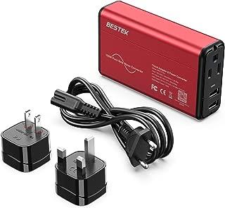 [Pure Sine Wave] BESTEK Travel Adapter Converter 220V to 110V Voltage Converter 0-2.4A Dual Smart USB UK/AU/US Worldwide Plug Red-Black