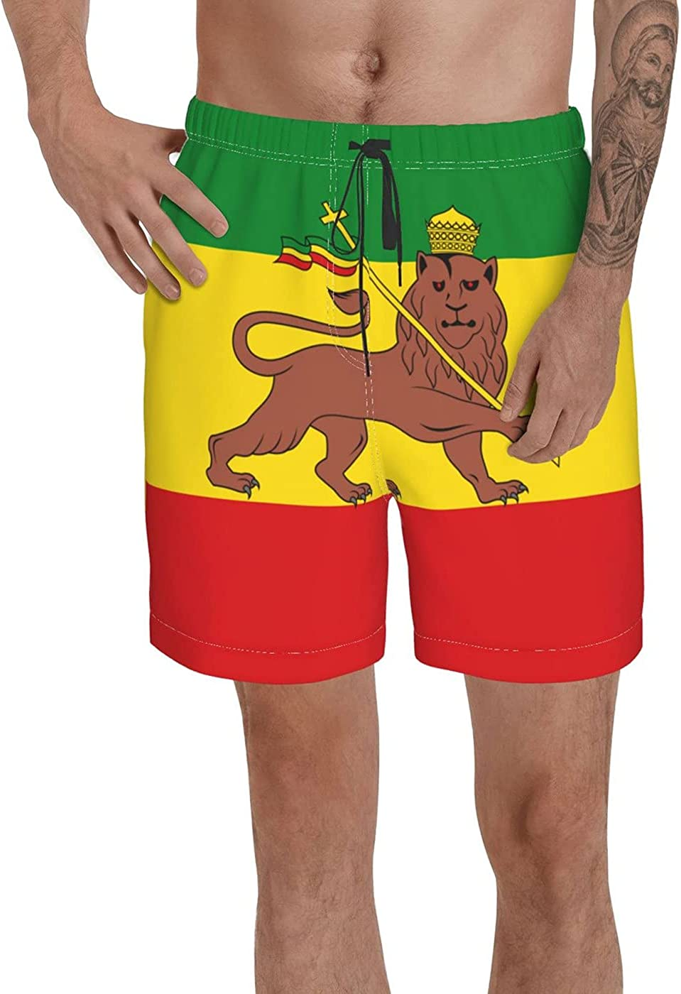 Count Ethiopia Flag with Lion Men's 3D Printed Funny Summer Quick Dry Swim Short Board Shorts with