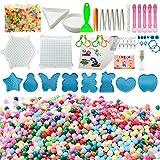 Allazone 34 Colori 6500 Kit di Perline Acqua, Refill di Aqua Perla e Beados Art Crafts Giocattoli e Vari Strumenti di Produzione per Bambini Perline e Gioielli Classici