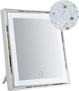 آینه آرایش HORLIMER با چراغ و تزئینات براق ، صفحه لمسی ، منبع تغذیه دوگانه ، آینه های روشنایی LED روشن برای میز و دیوار ، سفید ، 10.6x12.6 اینچ