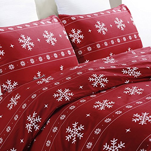 Vaulia Lightweight Microfiber Duvet Cover Set, Snowflake Pattern Design, Red Color - Twin