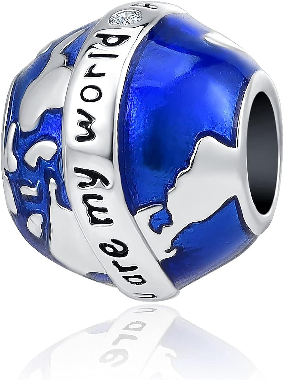YSAHan Globe Earth Compass World Map Charm Travel Bule Enamel Dangle Bead for European Bracelet