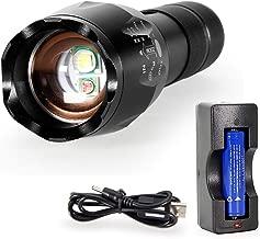 Linterna Caza, Roja+Blanca Luz 2 en 1 Tacticas Potente 1000 lumen LED Exterior Flashlight, Con 2300mAh Recargables Batería la Mejor Luz Roja Para la Caza, Pesca, Acampando