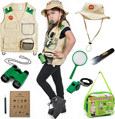 Born Toys Kids Explorer Kit for Boys and Girls with Washable Premium Backyard Safari Vest and Adventure kit for Hallo...
