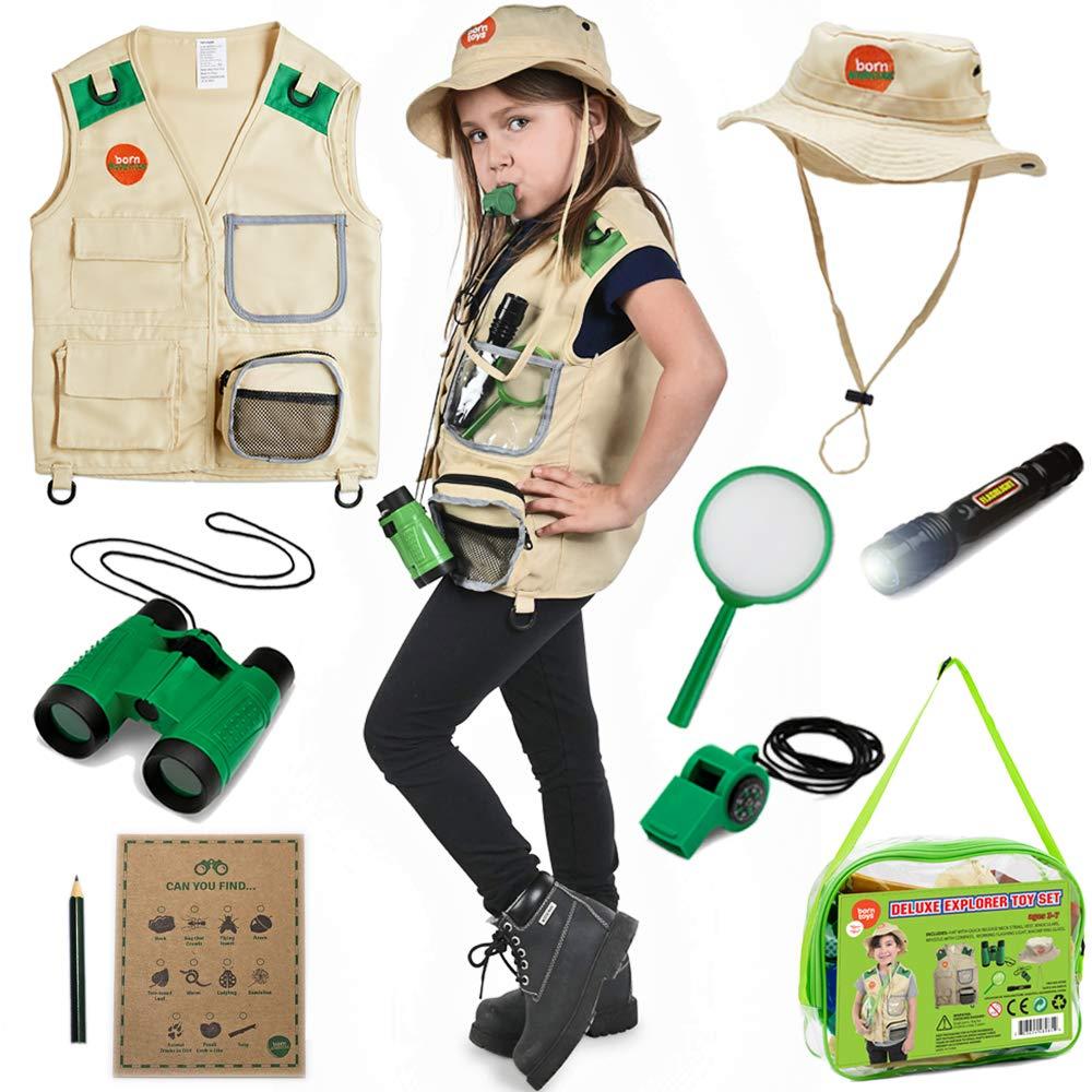 Born Toys Explorer Kit for Kids Children's Toy with Washable Premium Backyard Safari Vest and Adventure kit or Paleontologist Costume Full Kids Explorer Set