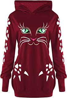 CharMma Women's Plus Size Cat Print Long Sleeve 2 Pocket Hoodie with Ears