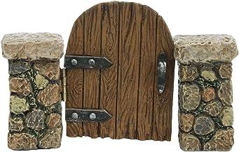 TG,LLC Treasure Gurus Miniature Stone Pillar Wood Gate Fairy Garden Ornament Dollhouse Decor Accessory
