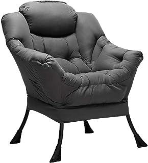 HollyHOME Fauteuil Chaise D'appoint, Chaise Paresseuse en Tissu Moderne, Chaise Longue Relax avec Accoudoirs et Poche, Cha...