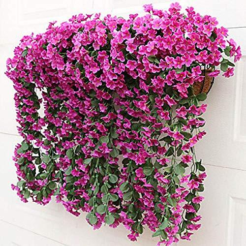 SLJHUA Flores Artificiales Flores Artificiales Exterior Decoración del Hogar La Flor Fiesta Planta Simulación La Boda 2 Ramas Estilo Moderno Violeta Pared Flor Púrpura