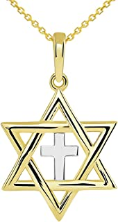 14k Yellow Gold Jewish Star of David with Religious Cross Judeo Christian Pendant Necklace