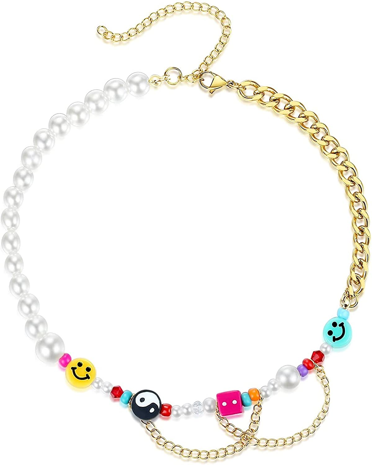 Happy Go Lucky Necklace Smiley Face Yin Yang Colorful Pearl Beads Necklace Handmade Y2k Jewelry for Women Girls