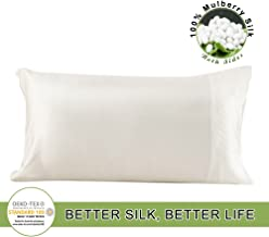 LILYSILK 100 Pure Mulberry Silk Pillowcase Both Side for Hair Charmeuse Hypoallergenic Standard/Queen 20x30 Inch Ivory 1pc 19 Momme Gift Box