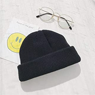 Lei Zhang Outdoor Winter Knit hat Wool hat Dome Cap Female Rogue Warm Autumn and Winter Influx of Men Fall and Winter Cold Cap Skullcap (Color : Black, Size : One Size)