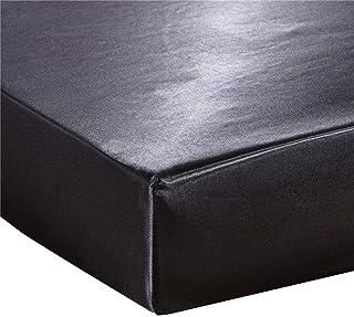 Mangoton Drap Housse 140x190 cm Matelas Epais, Drap Housse Satin 2 Personne, Drap Housse Bonnet 30 cm (140x190x30cm, Noir)