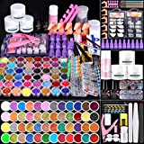 Cooserry 115 In 1 Acrylic Nail Kit - 48 Colors of Glitter Acrylic Powder And Liquid Monomer Set for Nails Professional Set - 5 Pcs Acrylic Nail Brush And Manicure Tools For Acrylic Nail Starter