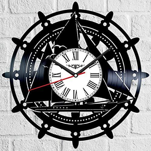 Barco Ancor vinilo disco reloj de pared estilo retro reloj de pared silencioso decoración del hogar único arte especial accesorios creativos personalidad regalo