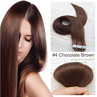 SHOWJARLLY Remy Tape in Hair Extensions 20Pcs/Set (18inch, 4 Chocolate Brown)