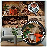 GREAT ART® Mural De Pared – Collage De Café – Cocina Taza De Café Granos...