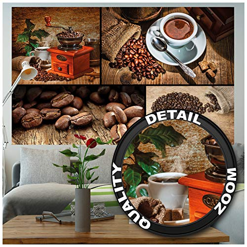 GREAT ART Fototapete – Kaffee – Wandbild Dekoration Küche Coffee Collage Kaffeetasse Küchendeko Kaffeebohnen Kaffeemühle Kaffeebilder Foto-Tapete Wandtapete Fotoposter Wanddeko (210 x 140 cm)