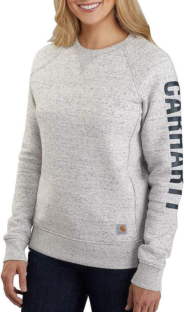 Carhartt Women's Relaxed Fit Midweight Crewneck Block Logo Sleeve Graphic Sweatshirt