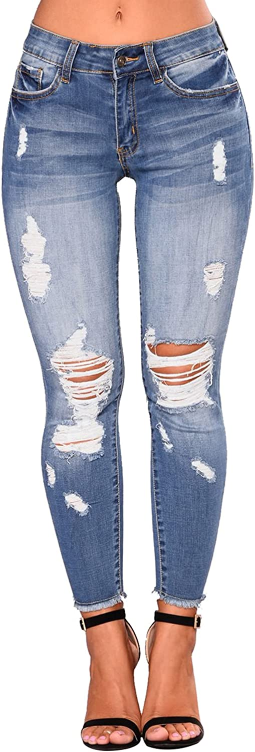 KUNMI Women High Waist Skinny Stretch Ripped Cropped Jeans Destroyed Denim Pants