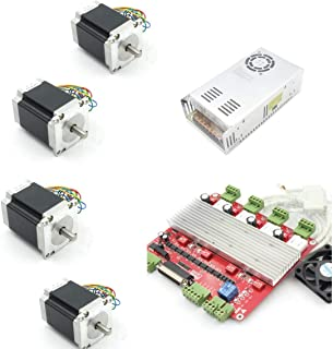 4 Axis Nema 23 Stepper Motor 270oz-in 76mm 3A+TB6560 Driver Board 12-36V/DC+350W 24V DC Switching Power Supply with Parallel Cable CNC Controller Kit for CNC Router/Engraver Milling Machine/3D Printer