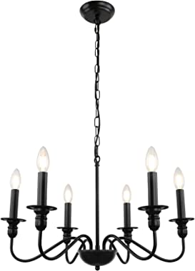 KMaiPem Farmhouse Chandelier, 6 Lights Black Candle Chandelier Lighting, Rustic Industrial Iron Small Chandeliers for Dining