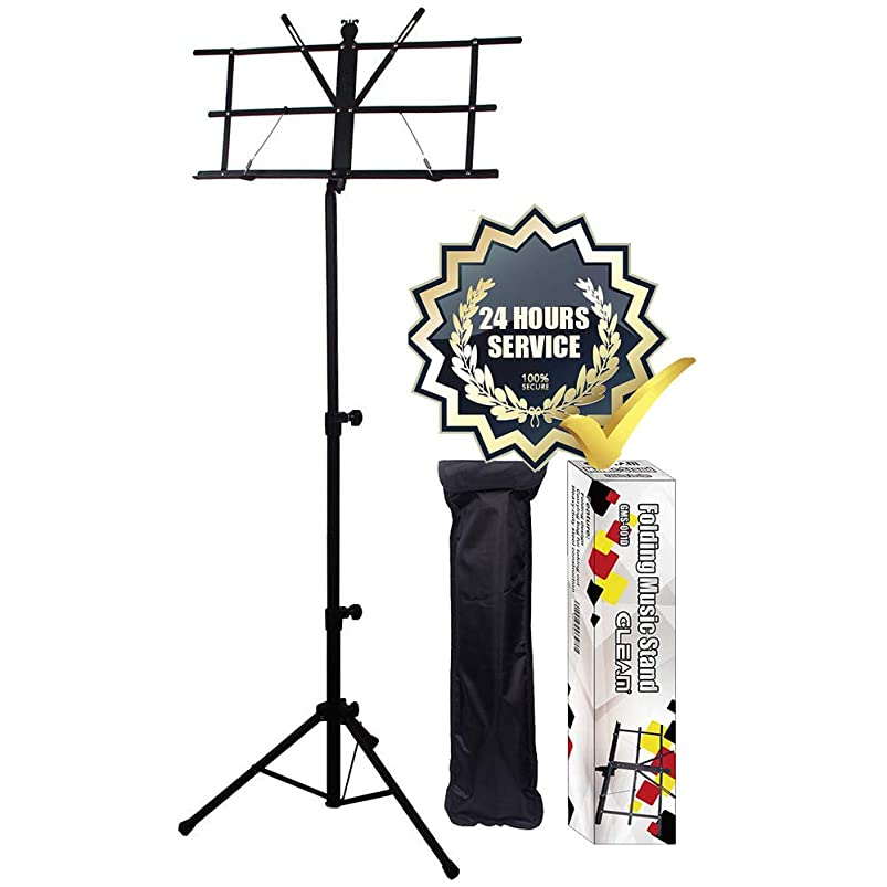 GLEAM Music Stand - Bold Pipe Folding Sheet Music Holder with Carrying Bag uvxautsm500312