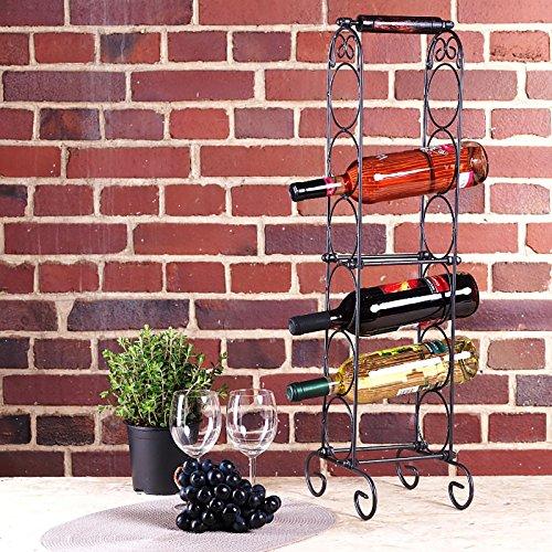 Flaschenregal, Weinregal Boris für 6 Flaschen in schwarz, ca. 20 cm x 24 cm x 73 cm