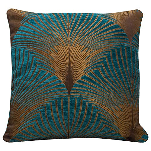 Linen Loft Art Deco Fan Cushion Cover in Teal and Gold. Double Sided Luxury Velvet Chenille. 17x17 (43cm) Square Pillow Case. Geometric vintage 20s and 30s Feather Pattern. Handmade in the UK.