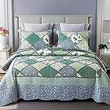 Topmail Set 3 Pezzi Patchwork Copriletto Trapuntato Matrimoniale 220x240cm con 2 Federe 50x70cm in Poliestere Bed Cover Blu e Verde