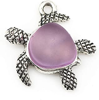 Turtle Charm Pendants with Sea Glass by JGFinds, 5 Pack, Small Silver Tone 7/8 inch (Purple)
