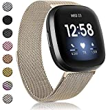Amzpas Bands Compatible with Fitbit Versa 3 Fitbit Sense, Breathable Stainless Steel Loop Mesh Magnetic Adjustable Wristband for Fitbit Versa 3 / Sense for Women and Men(Champagne,Small)