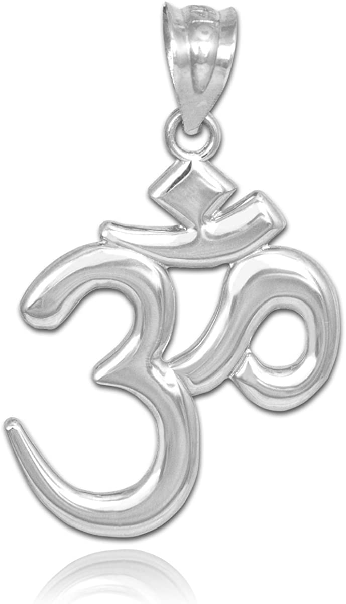 Solid Ranking TOP10 14k White Gold Hindu Meditation Om Yoga Aum Pendan Max 59% OFF Charm