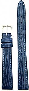 12mm Blue Genuine Leather Watch Band | Tail Lizard Grained, Lightly Padded Replacement Wrist Strap